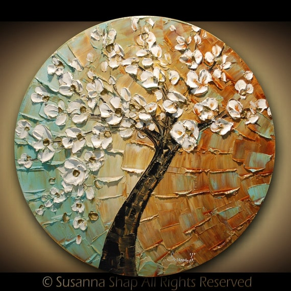 ORIGINAL Tree Painting Abstract White Cherry Blossom Textured Modern Art by Susanna