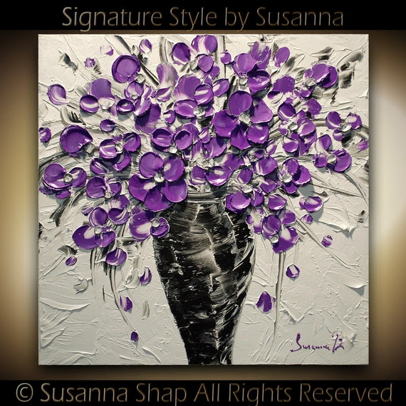 ORIGINAL Contemporary Purple Flowers Bouquet in Vase Thick Impasto Textured Oil Painting by Susanna