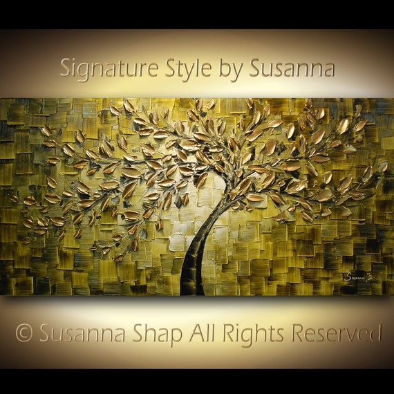 ORIGINAL Large Abstract Gold Olive Green Tree Painting Textured Modern Palette Knife Art  by Susanna 48x24