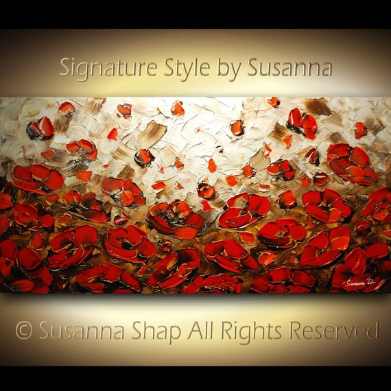 ORIGINAL Large Abstract Olive Brown Red Poppies Impasto Landscape Oil Painting by Susanna 48x24 Ready to Hang