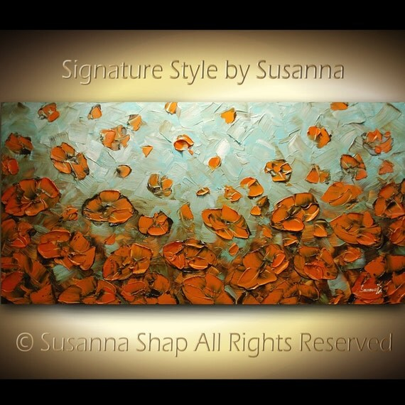 ORIGINAL Large Abstract Contemporary Orange Poppies Impasto Landscape Modern Palette Knife Painting by Susanna Ready to Hang 48x24