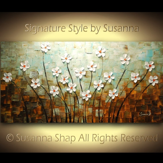 ORIGINAL Large Abstract Contemporary Textured White Flowers Landscape Painting Modern Palette Knife by Susanna Ready to Hang 48x24