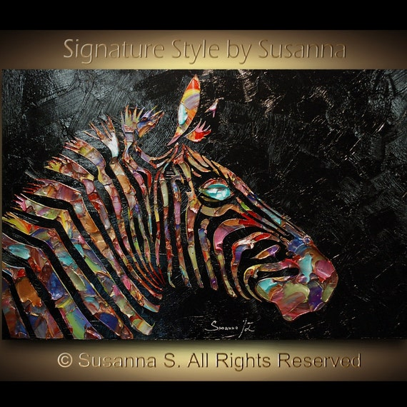 Original Zebra Painting Large abstract contemporary metallic multicolor black palette knife impasto fine art by Susanna 36x24