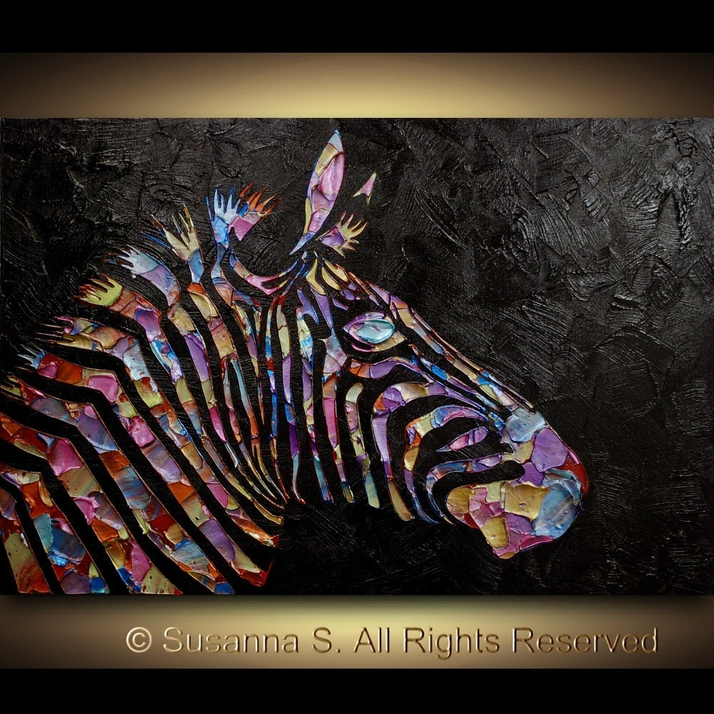 Original Zebra Painting Large abstract by ModernHouseArt ...