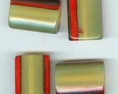 Set 4 Yellow Orange Black Acrylic Rectangle Focal Beads  28x20mm