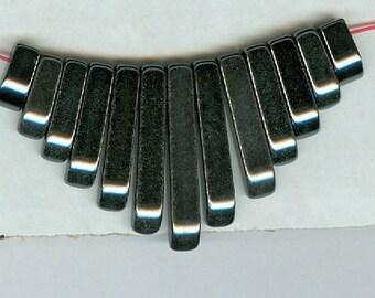 Black Hematite Mini Egyptian Cleopatra Gemstone Graduated Collar Fan 13pc Stick Bead Set