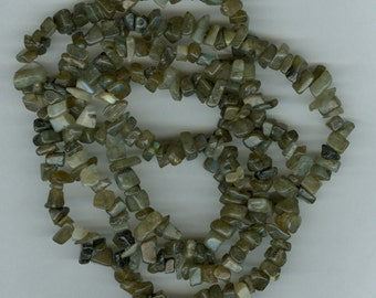 Labradorite Chip Beads 34 inch Strand Gray and Blue Flash Gemstone Chips Spacer Bead B/C Quality