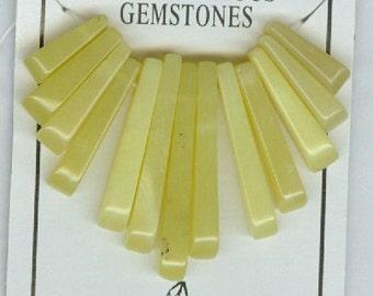 Yellow Olive New Jade Mini Cleopatra Collar Gemstone Fan Graduated Stick Beads 13pc Bead Set
