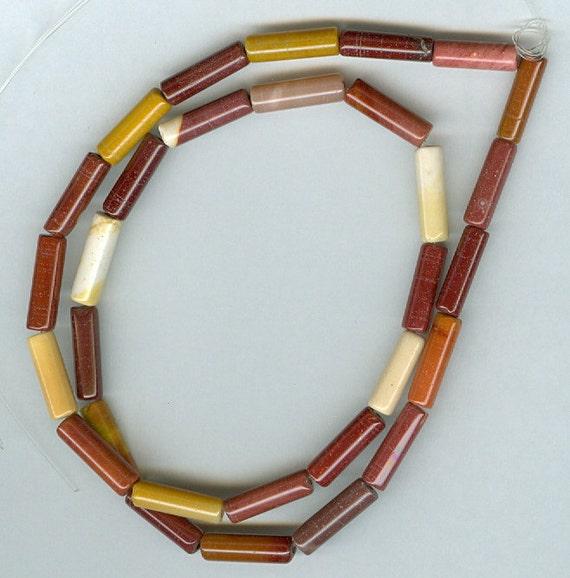 4x13mm Mookaite Tube Gemstone Beads - 15in Strand