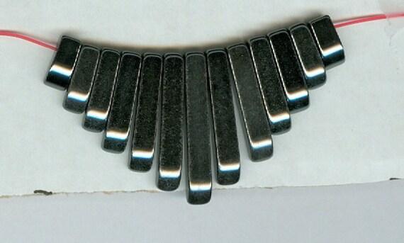 Hematite Mini Cleopatra Collar Fan 13pc Bead Set