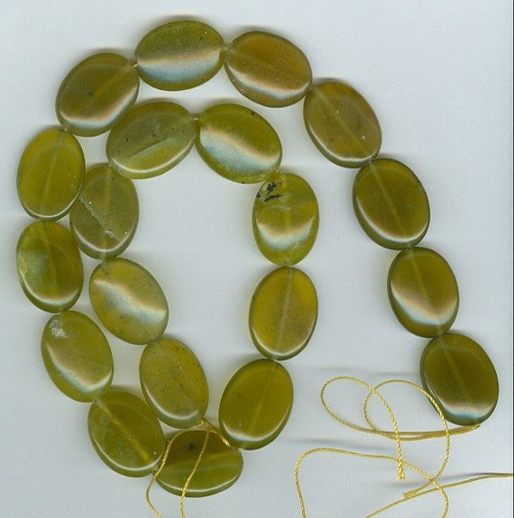 CLEARANCE - Olive Jade Oval Beads - 40% OFF