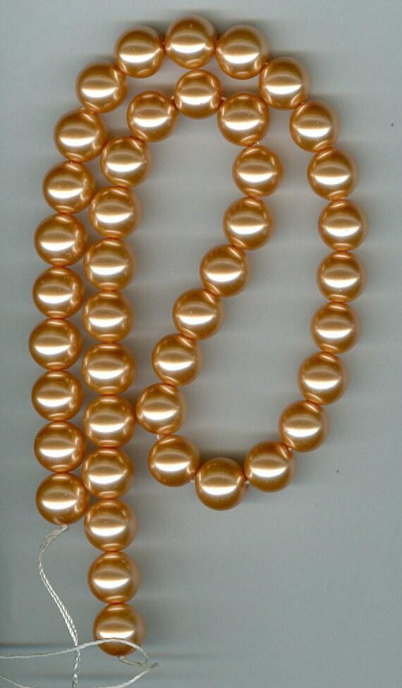 10mm Orange Peach Glass Pearl Round Beads