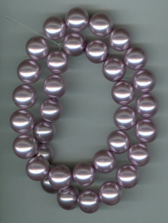REDUCED - 12mm Light Purple Glass Pearl Round Beads