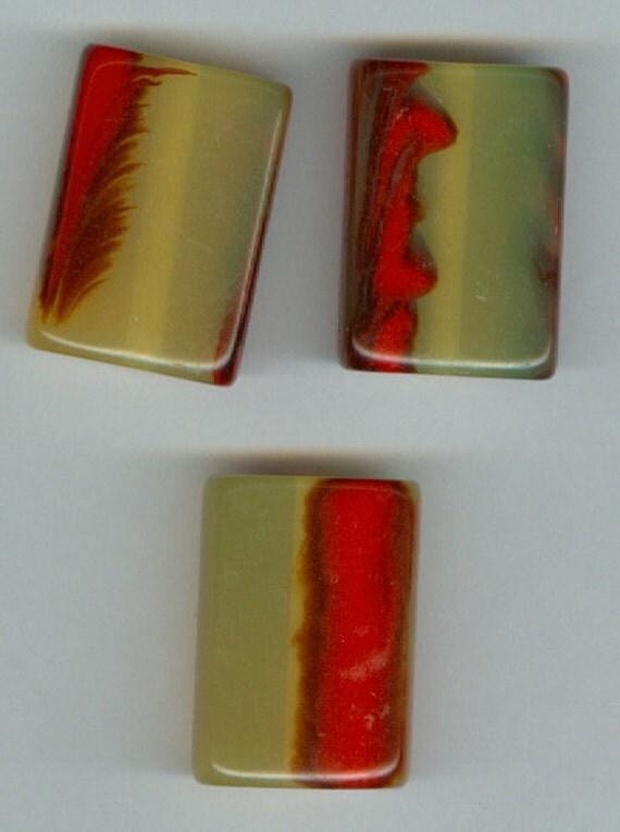 Set 3 Yellow Orange Black Acrylic Rectangle Focal Beads  28x20mm