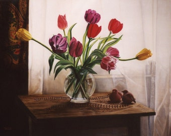 Clay Birds and Tulips - Fine Art Print