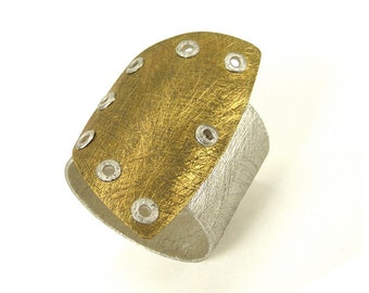 Sterling Silver and Brass Riveted Wide Band Ring Shield Series - Ingenious