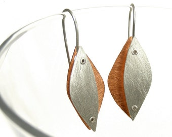 Sterling Silver and Copper Riveted Organic Earrings - Succulent