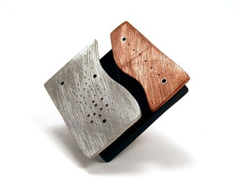 Sterling Silver, Copper and Black Resin Riveted Brooch - Congruity