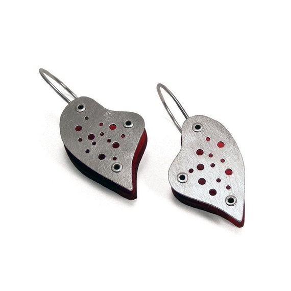Sterling Silver and Red Resin Riveted Heart Earrings - Enthrall