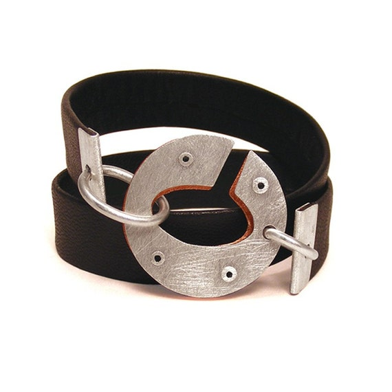 Silver, Copper and Leather Riveted Bracelet - Integrate