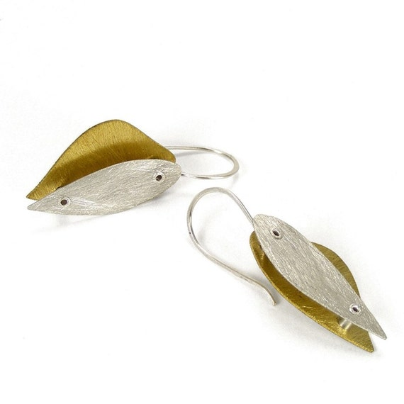 Sterling SIlver and Brass Riveted Heart Earrings - Seduction