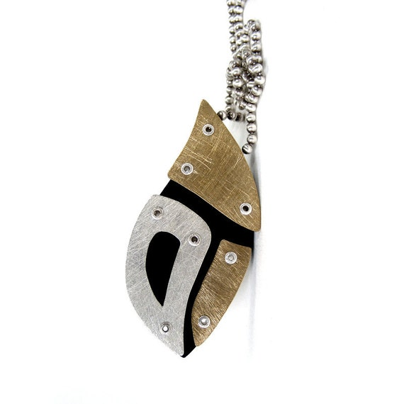 Sterling Silver, Bronze and Resin Riveted Pendant Necklace - Innuendo
