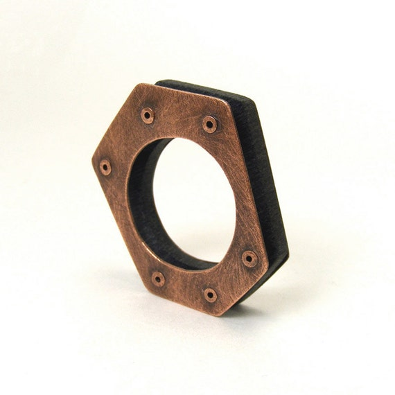 Oxidized Copper & Black Recycled Resin Hexagon Ring - Poise