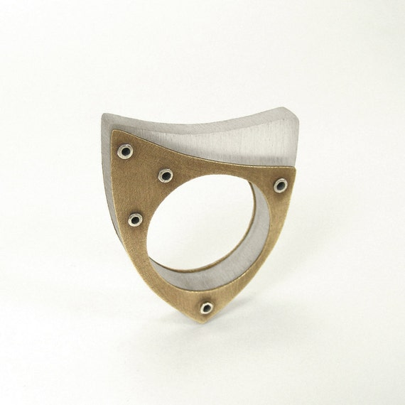 Oxidized Brass, Resin and Sterling Silver Riveted Ring - Oblique
