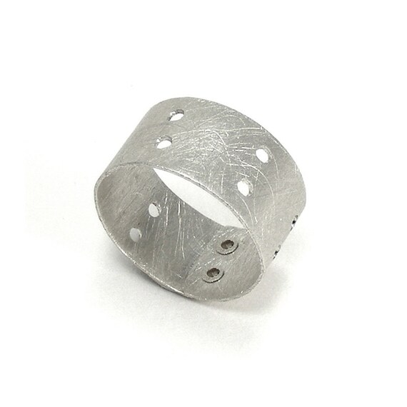 Sterling Silver Minimalist Drilled and Riveted Ring - Aperture