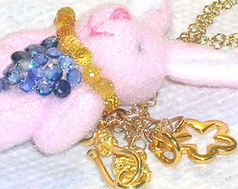 Dress Up Bunny Sapphire and Gold Necklace