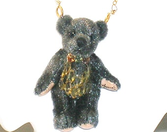 Dress Up Teddy Bear Sapphire, Peridot and Gold Necklace