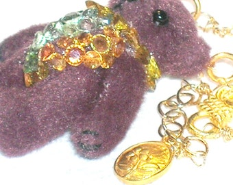 Dress Up Teddy Bear Sapphire and Gold Necklace