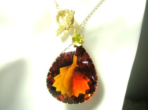 LAST  3 DAYS 20% OFF (Code:SALE20) Huge Orange Citrine Faceted Pear Briolette and Vermeil Gold Necklace