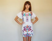 floral EMBROIDERED hippie cotton short dress