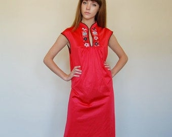asian style red nightgown dress ( s-m)