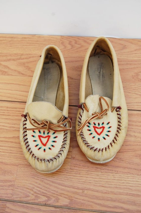 yellow leather beaded MOCCASSINS  7