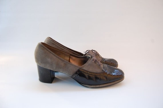 TWO TONE black and gray lace up OXFORD heel shoes 8