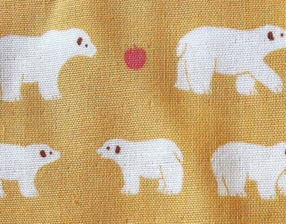 super cute  white bear and an apple  fabric