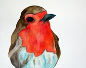 Robin Song - Original Robin Watercolor Painting
