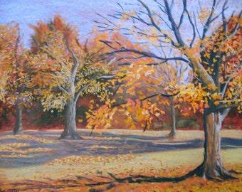 "Art Originals Pastel Landscape Painting ""Fall in Francis Park"" plein air"