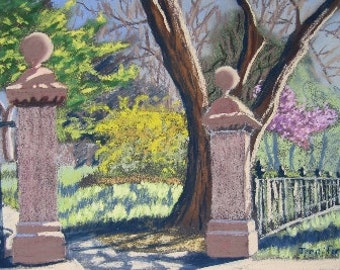 "Original Painting ""Gate at Missouri and Park"" plein air pastel architecture"