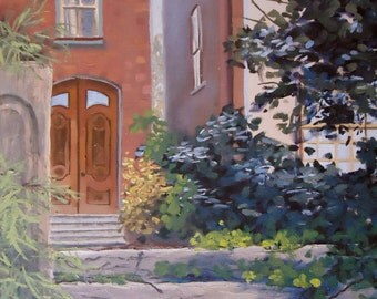 "Architectural Art - Original Oil Painting ""Stepping Back in Time"" - impressionist art impressionism"