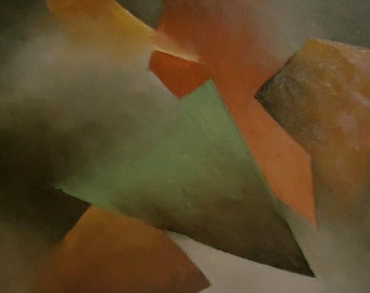 "Original Abstract Oil Painting ""Triangle Cascade"" in green, rust, brown, gray, gold"