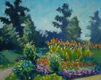 "Acrylic Landscape Painting Plein Air ""Rau Extravaganza"" garden impressionist art original"