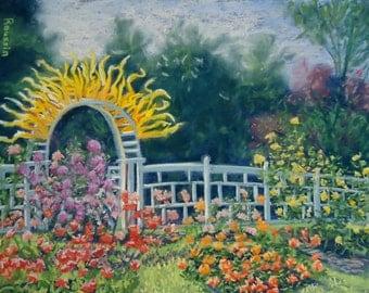 "Original Art Pastel Drawing ""Gladney Rose Garden with Sunburst"" plein air impressionist garden colorful art Dale Chihuly"