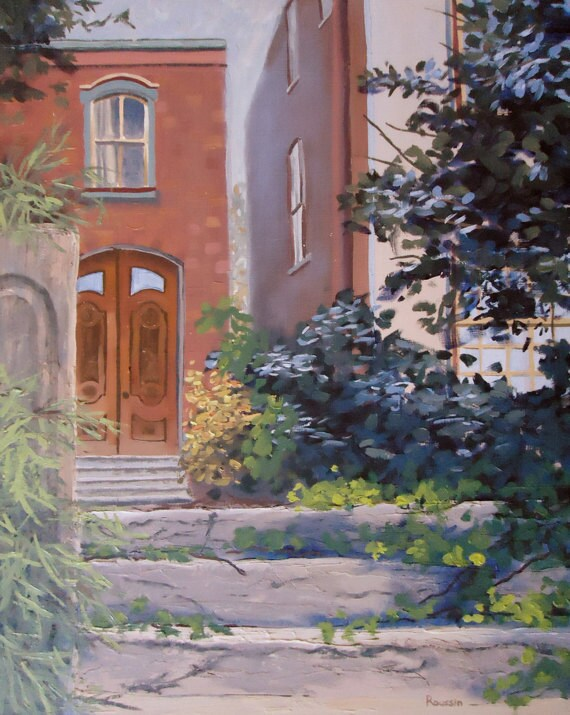 """Architectural Art - Original Oil Painting """"Stepping Back in Time"""" - impressionist art impressionism"""