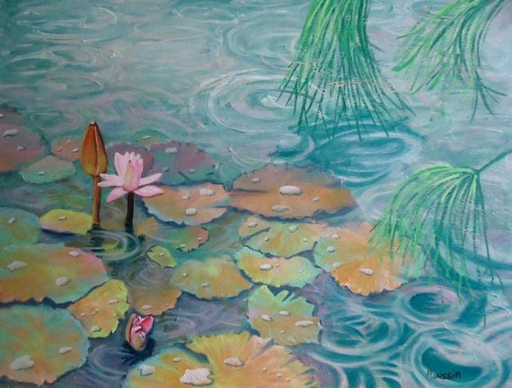 "Original Oil Painting ""Lotus' in the Rain"" impressionist art flower painting"