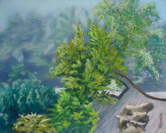 """Original Art Pastel Landscape """"Serene Dance"""" oriental plein air impressionist"""