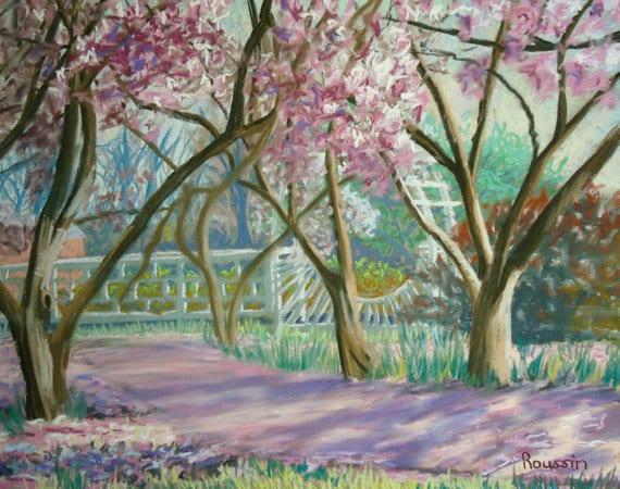 "Original Art Painting Pastel Landscape ""Magnolia Path"" impressionism impressionist plein air garden art"