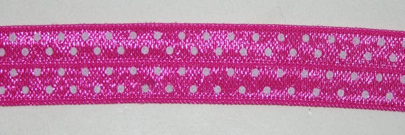 New Shocking Pink with White Swiss Dots Fold Over elastic - 5 yards